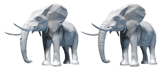 Faceted elephant isolated