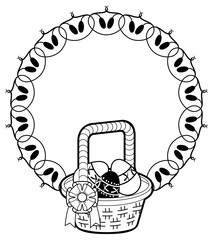 Round silhouette with outline image of Easter basket