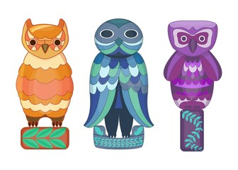 Set of cartoon owls. Cartoon owl totem for game. Vector illustration of fantasy owls. Owls for print. Isolated