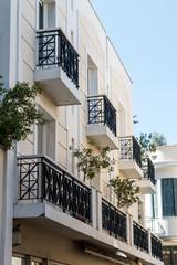 building facade in Greece with balcony