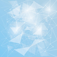 Abstract triangles space low poly. Blue background with connecting dots and lines. Light connection structure. Polygonal vector background. Futuristic HUD.