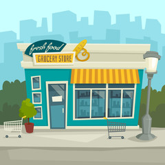 City background with shop building, vector cartoon illustration