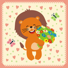 smiling lion with flowers, postcard