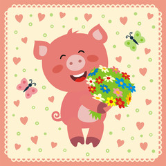 smiling pig with flowers, postcard