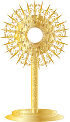 Golden monstrance for Eucharistic adoration of the Blessed Sacrament. Vector illustration.