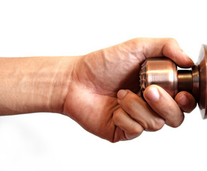 Man's hand hold doorknob on isolate white background
