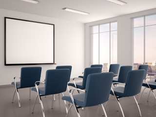 3d illustration of empty conference room with a whiteboard for s
