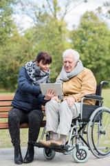 Man on wheelchair outdoor