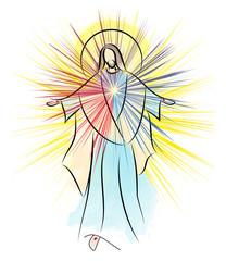 Risen Lord Jesus Christ Easter vector illustration