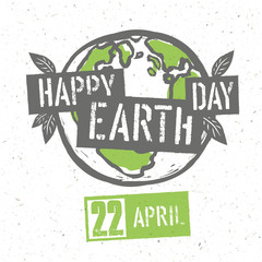 Typographic design for Earth Day. Concept Poster With Earth Symb