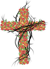 Vintage cross with thorns and roses, color vector illustration, symbol of the passion of Jesus Christ and Lent or Easter season.