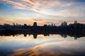 Wall Mural - Ancient temple Angkor Wat at sunrise. Siem Reap, Cambodia