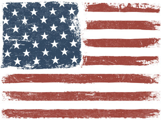 American Flag Grunge Background. Vector Template. Horizontal ori