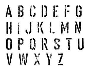 Grunge stencil alphabet vector set.