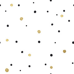 Abstract Seamless Pattern on White Background with Black and Gol