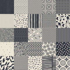 25 seamless different vector monochrome patterns. Geometric, flo