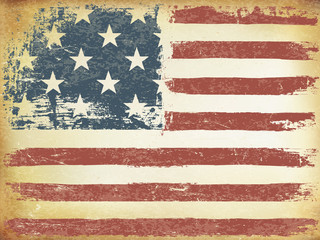 American Themed Flag Background. Grunge Aged Vector Template. Ho