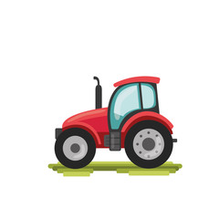 flat cartoon tractor. farmer production machine
