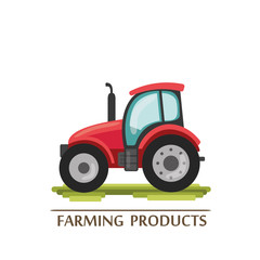 flat cartoon tractor. farmer production machine