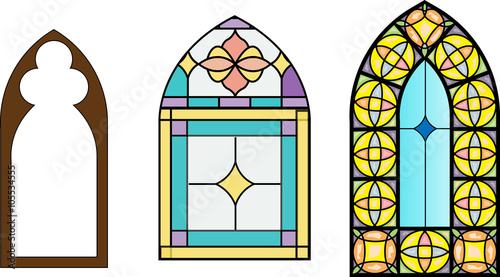 Church Stained Glass Windows Vector Illustration In Color And Line Drawing Stock Image Royalty Free Files On Fotolia