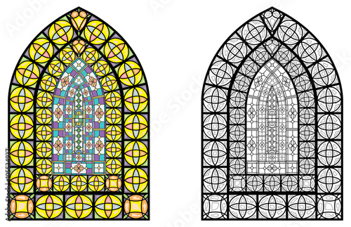 Church Stained Glass Windows Vector Illustration In Color And Line Drawing