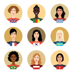 Set of vector icons - people of different nationalities. Girls