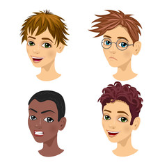 set of teenager avatar expressions with different hairstyles
