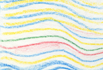 Striped wavy crayon pattern. Hand painted oil pastel crayon.
