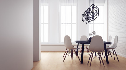 Simple of Working and Dining set Modern / 3D render image