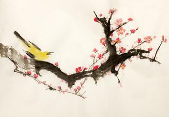 sakura and bird branch