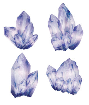 Amethyst crystal cluster in a hand drawn watercolor style