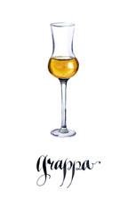 Glass of Italian grappa brandy