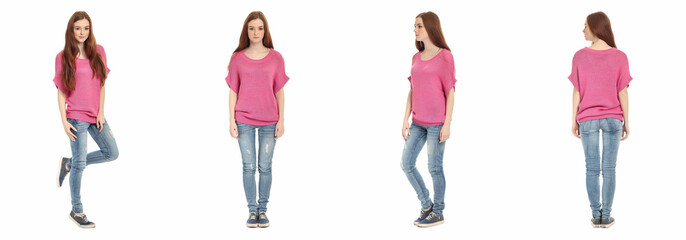 Beautiful young teen in jeans. Isolated on white background.