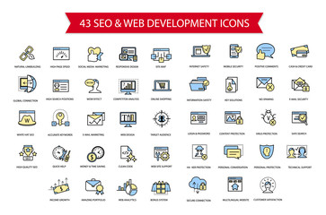 SEO, Computer security, Web development thin line simple flat mo