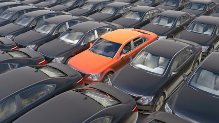 3d orange car surrounded by black cars