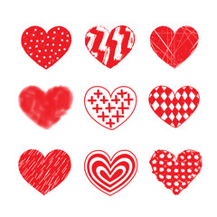 Vector hearts. Set of heart sketches.