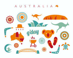 Australia icon set - Vector illustration