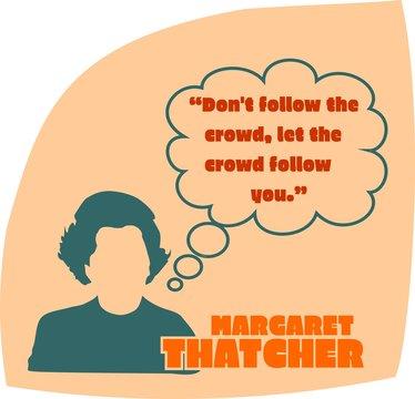 Vintage woman silhouette. Margaret thatcher text
