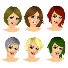 isolated set of young woman avatar with different hairstyles