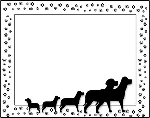 Background of a family of dogs in silhouettes with paw prints for background.  All in Black and white.  Graphic, Illustration