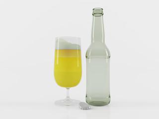 Светлое пиво в бокале и пустая пивная бутылка