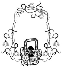Horizontal silhouette frame with outline image of Easter basket