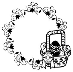 Round silhouette frame with outline image of Easter basket