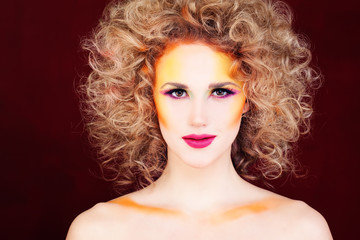 Perfect Woman with Blonde Curly Hairstyle and Fantasy Fair Makeup