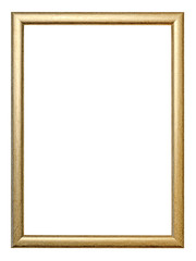 Golden thin picture frame isolated