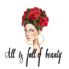 Hand drawn illustration of beautiful girl roses on head looking at camera