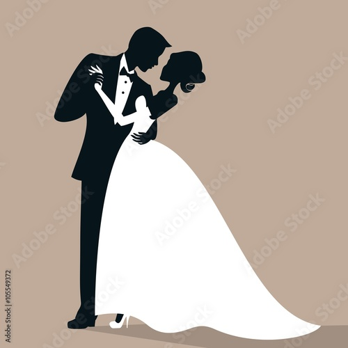 """The bride and groom dancing silhouettes"" Stock image and ..."