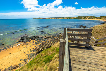 Lookout from the wooden walkway in Flynns Beach, Phillip Island, Victoria, Australia