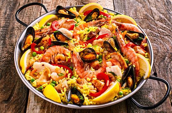 Colorful Seafood Paella Dish with Shellfish