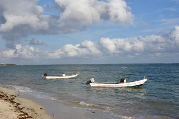 Caribbean sea with boats. Mexico.